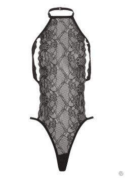 Barely B Peek A Boo Lace Teddy Black