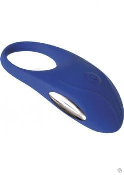 Adam and Eve The Rechargeable Couples Penis Ring Silicone Cockring Waterproof Blue