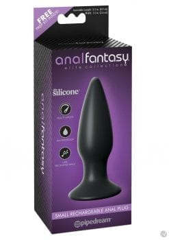Anal Fantasy Elite Small Rechargeable Anal Plug Vibrating USB Waterproof Black 4.3 Inch