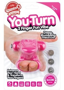 You Turn 2 Finger Vibe Silicone Ring Waterproof Strawberry