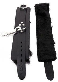 Rouge Fur Wrist Cuffs Leather And Fur Black
