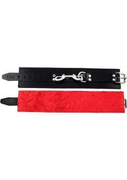 Rouge Fur Ankle Cuffs Leather And Fur Black And Red