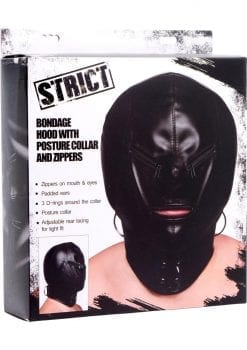 Strict Bondage Hood With Posture Collar And Zippers