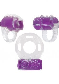 Ring True Cock Ring Set Clear And Purple