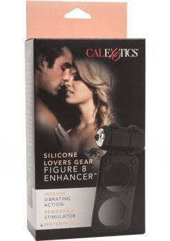Silicone Lovers Gear Figure 8 Enhancer Vibrating Cockring Waterproof Black