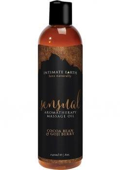 Intimate Earth Sensual Aromatherapy Massage Oil Cocoa Bean and Goji Berry 8oz