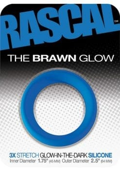 Rascal The Brawn Glow 3x Stretch Silicone Cock Ring Glow In The Dark Blue