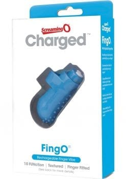 Charged Fing O Rechargeable Finger Mini Vibe Waterproof Blue