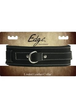 Edged Lined Leather Collar Adjustable Black