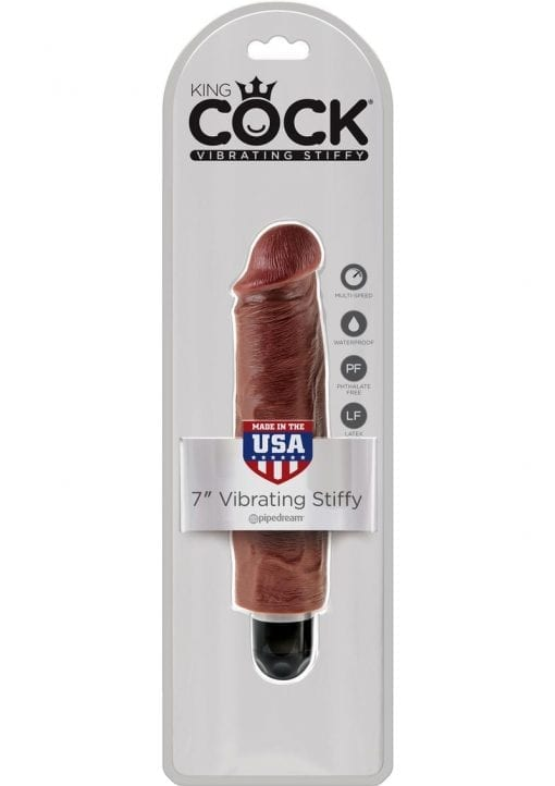 King Cock Vibrating Stiffy Realistic Dildo Waterproof Brown 7 Inch