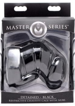 Master Series Detained Restrictive Chastity Cage With Nubs Black