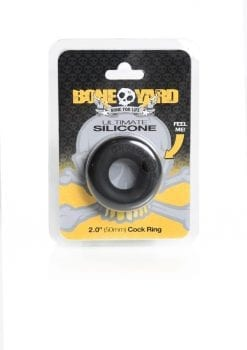 Bone Yard Ultimate Silicone Cockring Black 2 Inch Diameter