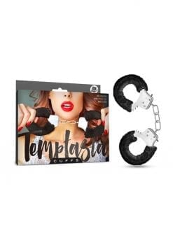 Temptasia Cuffs Adjustable Furry Hand Cuffs With Keys Black