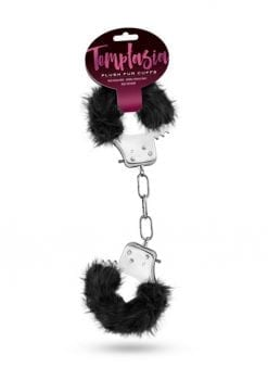 Temptasia Plush Fur Cuffs Adjustable Furry Hand Cuffs Stainless Steel With Keys Black