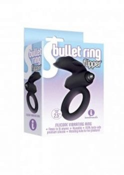 S Bullet Ring Flipper Silicone Vibrating Ring Black 2.5 Inches