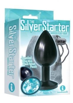 The Silver Starter Jeweled Round Plug Stainless Steel Black And Aqua 2.8 Inch