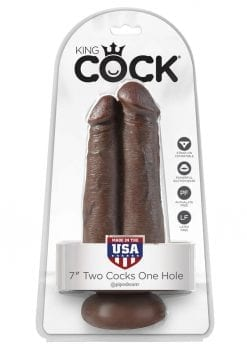 King Cock Two Cocks One Hole Realistic Dildo Brown 7 Inch