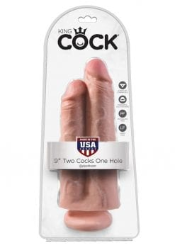 King Cock Two Cocks One Hole Realistic Dildo Flesh 9 Inch