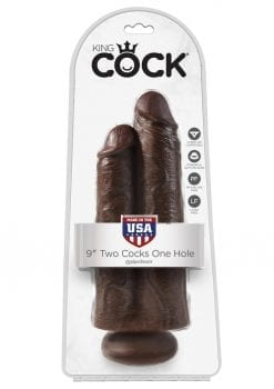 King Cock Two Cocks One Hole Realistic Dildo Brown 9 Inch