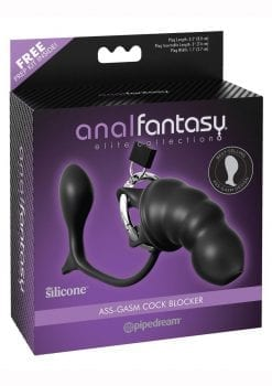 Anal Fantasy Elite Silicone Ass Gasm Cock Blocker Chastity Cage Black