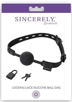 Sincerely Sportsheets Locking Lace Ball Gag Silicone Black