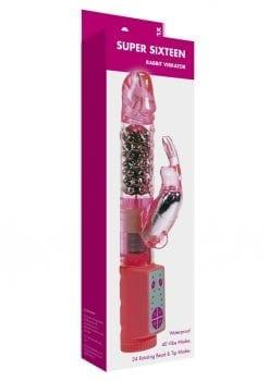 Minx Super Sixteen Rabbit Vibrator Waterproof  Pink 5 Inches