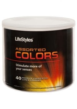Lifestyles Assorted Colors 40 Premium Lubricated Latex Condoms Bowl