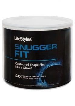 Lifestyles Snugger Fit 40 Premium Lubricated Latex Condoms Bowl