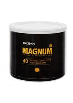 Trojan Magnum  40 Premium Lubricated Latex Condoms Large Size Condoms Bowl