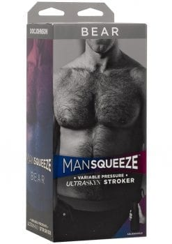 Man Squeeze Bear UltraSkyn Stroker Realistic Anus Vanilla 8 Inches