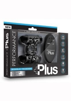 Performance Plus Double Thunder Cock Ring Multi Function Remote Control Black