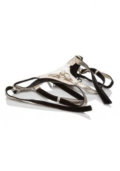 Her Royal Harness The Regal Queen Crotchless Vegan Leather Adjustable Harness Gold Up To 64 Inches