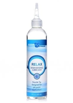 Clean Stream Relax Desensitizing Anal Lubricant With Nozzle Tip 8 Ounces