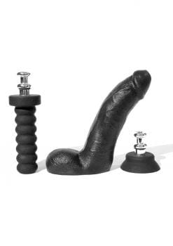 Bone Yard Cock Dildo With Silicone Handle or Suction Cup Base Attachment Black 8 Inches