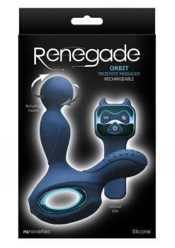 Renegade Orbit Silicone Rechargeable Vibrating Rotating Heated Prostate Stimulator - Blue