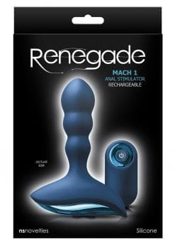 Renegade Mach 1 Silicone Rechargeable Vibrating Anal Stimulator - Blue