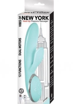 Vibes Of New York Heat Up Pleasure Massager USB Rechargeable Multi Function Vibrator Aqua
