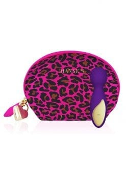 Rianne S Lovely Leopard  Mini Wand Massager Multi Speed Silicone Waterproof  Rechargeable Purple
