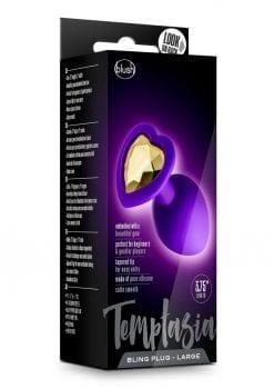 Temptasia Bling Silicone Anal Plug Large Purple 3.75 Inch