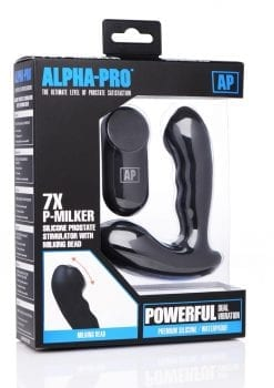 Alpha-Pro 7x P-Milker Silicone Prostate Stimulator With Milking Bead Waterproof Rechargeable Remote Control