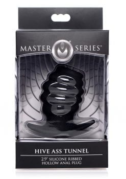 Master Series Hive Ass Tunnel 2.9 Inch Silicone Ribbed Hollow Anal Plug Small