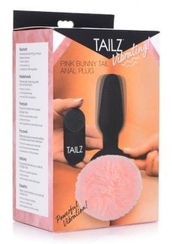 Tailz Vibrating Pink Bunny Tail Anal Plug Silicone Remote Control