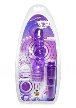Trinity Vibes Royal Rocket Ribbed Rabbit Vibrator Clitoral Stimulation Waterproof Purple