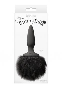 Bunny Tails Mini Silicone Anal Plug - Black Fur
