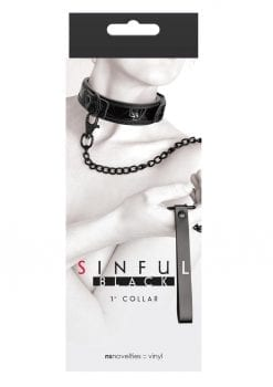 Sinful 1 Inch Collar Adjustable Collar and Leash Vinyl Black