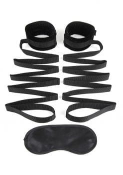 Lux Fetish Bondage Bed Strap 2pc. Playful Restraint System Black