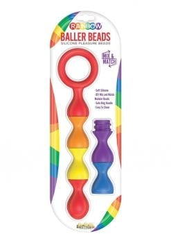 Rainbow Baller Beads Silicone Pleasure Anal Beads Waterproof