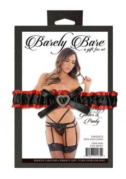 Barely Bare Strappy Garter and Panty Set Black One Size