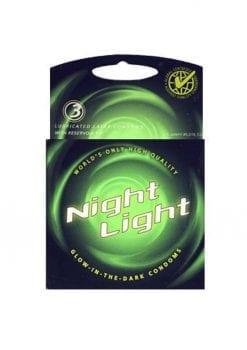 Night Light Glow In The Dark Condoms Lubricated 3 Pack