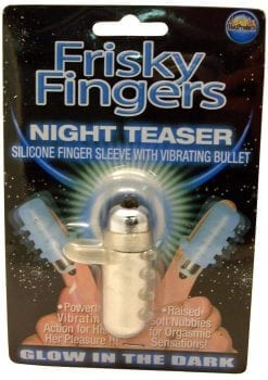 Frisky Fingers Night Teaser Silicone Finger Sleeve With Vibrating Bullet Glow In The Dark